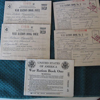 WWII RATION BOOKS from Biscuit tin - Military and Wartime