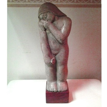 "Mario Carmelo Ubaldi (American 1912-1993) "" Female Figure With Bouquet "" 14.5"" x 4.5  With Wood Base / Circa 1938 - Fine Art"