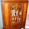 Maple China Cabinet With Burl Inlay Along With Other Pieces Of The Dining Room Set Circa 1910-1920