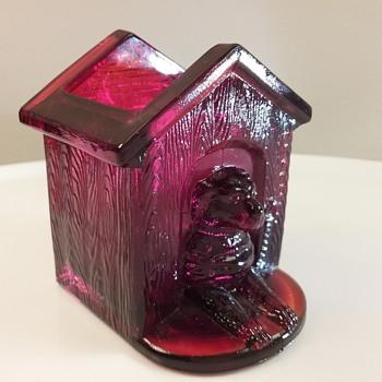 Westmoreland Glass doghouse w/ dog toothpick holder  - Glassware