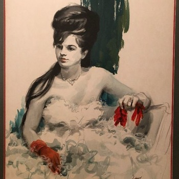 Lady 1960 Red Gloves Coleman - Fine Art