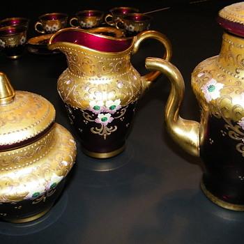 Antique Murano Italian Glass Tea Set - Glassware