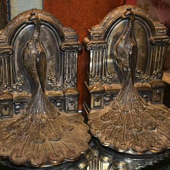 Victorian Peacock Bookends - Books