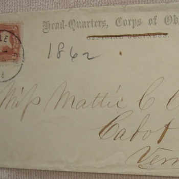 Postal Cover 1862. Headquarters Corps of Observation. - Military and Wartime