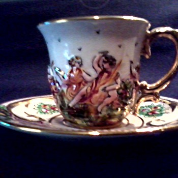 "Tiny Gilded ""Capodimonte"" Demitasse Cup and Saucer/ Unknown Age"