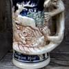 Freaky German Majolica Beer Stein, 1950s, Flea Market Find 1 Euro ($1.06)