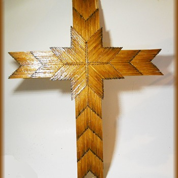 Folk Art - CROSS -  Made of Burnt Wooden Matches - Folk Art