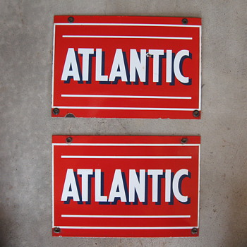 Atlantic Porcelain Pump signs