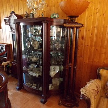 circa 1850s double s shaped curved glass cabinet - Antique Cabinets