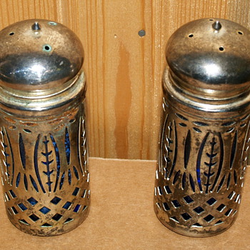 Metal encased Blue glass salt and pepper shakers - Kitchen