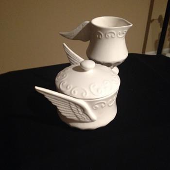 White Stoneware Creamer/Sugar with Wing Shaped Handles - China and Dinnerware