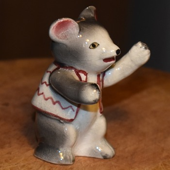 Salt Shaker - figure of a welcoming mouse wearing a little hippie vest - Kitchen