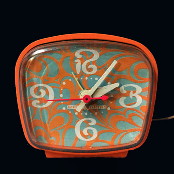 Early 70s Psychedelic Orange GE Alarm Clock - Clocks