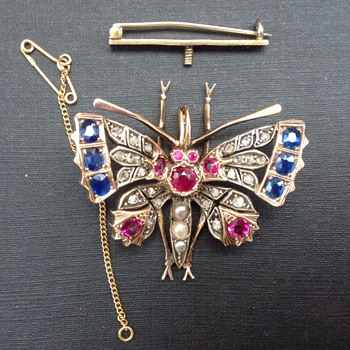 Antique Victorian  Butterfly Pendant, Brooch - Victorian Era