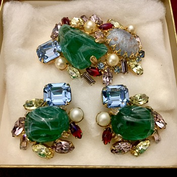 Alice Caviness Brooch and Earrings - Costume Jewelry