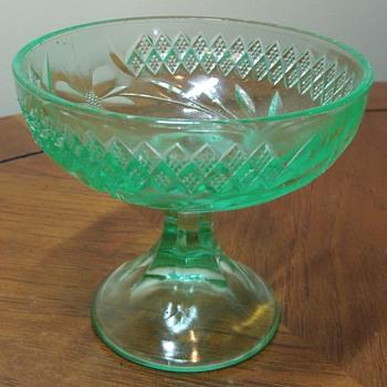 Uranium Glass Compote - Glassware