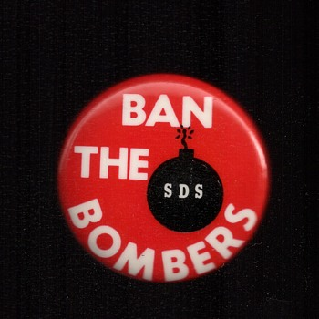 Ban the Bombers (Weather Underground)  SDS Vietnam pinback button