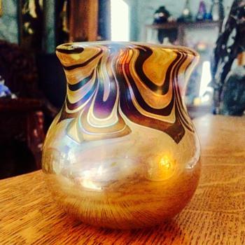 Vintage Lundberg? Lotton? Pulled Feathered Iridescent Miniature Vase - Art Glass