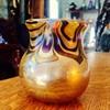 Vintage Lundberg? Lotton? Pulled Feathered Iridescent Miniature Vase