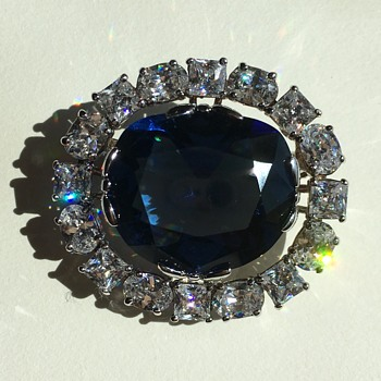 Simulated Hope Diamond Brooch - Costume Jewelry