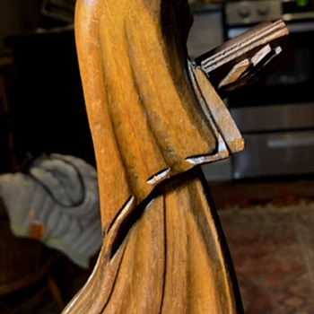 Mexican Carving of a Monk Reading Scripture - Folk Art