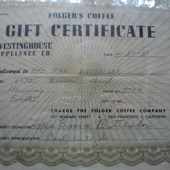 Foldgers Coffee Gift certificate. - Advertising