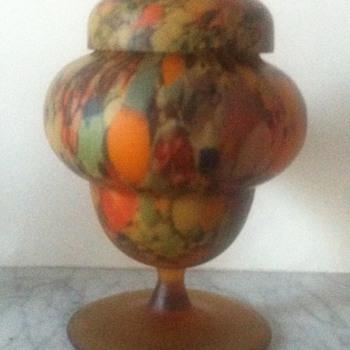 Satin glass lidded jar - Art Glass