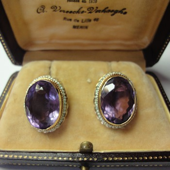 Amethyst and pearl seed earrings - Fine Jewelry