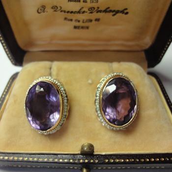 Amethyst and pearl seed earrings - Fine Jewelry