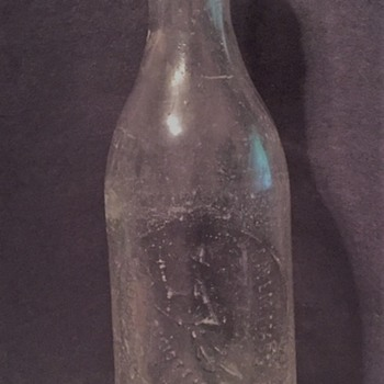 "7.75"" Clear Glass Bottle Embossed ""E. Provo Salem Mass"" with  Witch on Broom - Bottles"