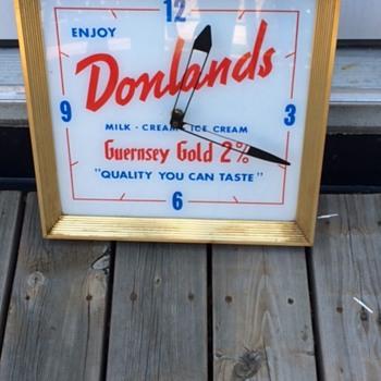 VINTAGE DONLANDS DAIRY ADVERTISING SIGN & CLOCK - Advertising