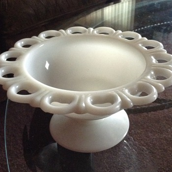 Antique Milk Glass Scalloped Edge Pedestal - Glassware