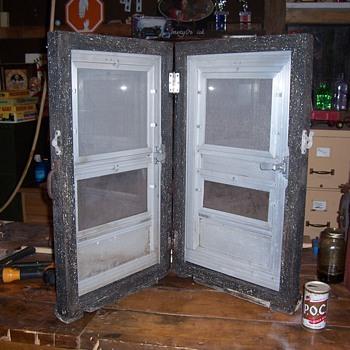 vintage FEATHER-LITE aluminum storm door salesman sample or store display - Advertising