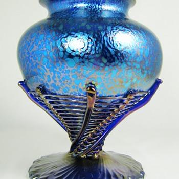 Loetz Cobalt Papillon Edward Prochaska Vase ca. 1918-20 - Art Glass