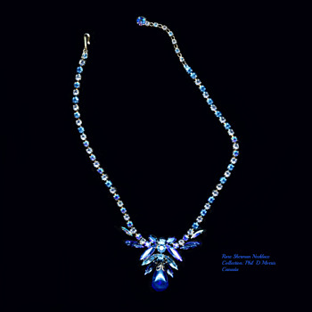 Very Rare Gustave Sherman Blue Drop Pendant Necklace - Costume Jewelry