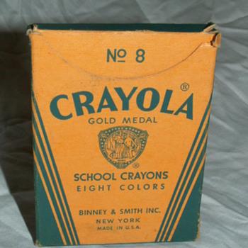 Antique No 8 Crayola Box & Crayons ~ Binney & Smith Co. New York - Office