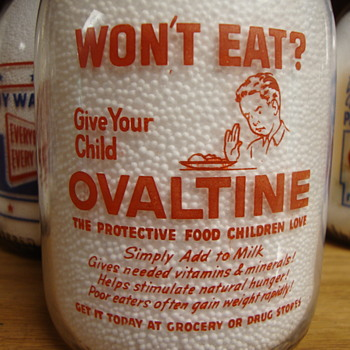 SANITARY FARMS DAIRY..ERIE PENNSYLVANIA QUART MILK BOTTLE ADVERTISING 'OVALTINE' - Bottles