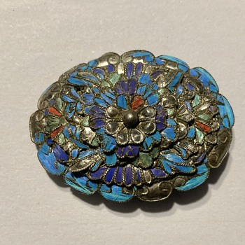 Antique kingfisher feather brooch - Asian