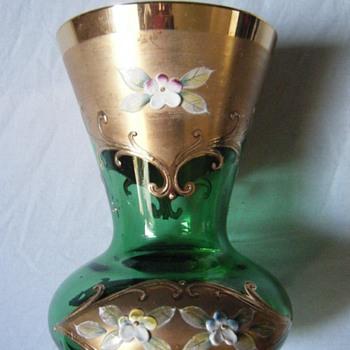 GREEN GLASS Bohemian  Green Glass Gold Gilded w/Floral Enamel  - Art Glass