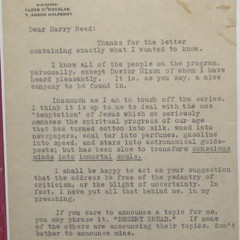 Autographed Letter, Writer Llpyd C. Douglas - Movies