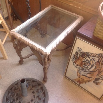 antique corner table with bird wings