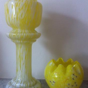 Enamelled yellow spatter rosebowl - Welz/Moser/Harrach &c - Art Glass