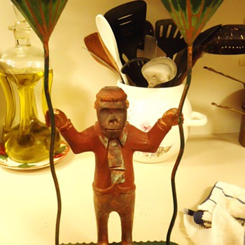 Copper Monkey holding candles, All is 100% copper and painted? - Folk Art