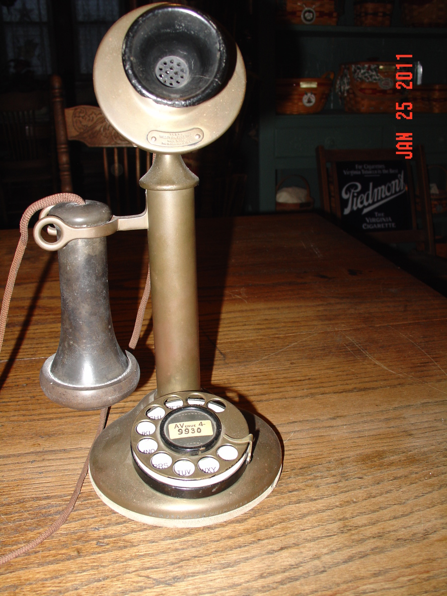 Telephone-Candlestick Advertisement Metal Sign