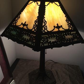 A Slag Glass Lamp with Roman Theme