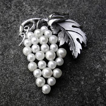 Trifari Pearl Grape Brooch - Costume Jewelry