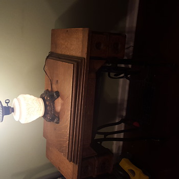 Vintage milk glass lamp - Art Glass