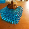 Blue Glass Hobnail Inkwell