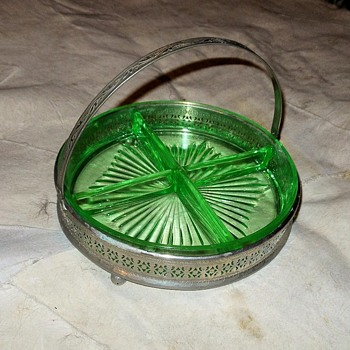 Green Depression Glass Relish Tray With Metal Basket