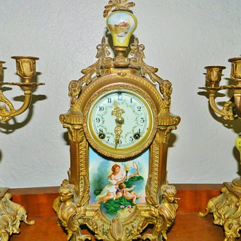 Old Gilt Bronze French Clock and Candelabra Set - Painted Porcelain Scenes and Finial
